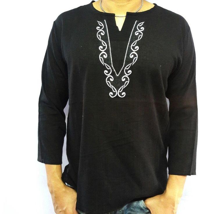 Men's Summer T-Shirt 100% Cotton Thai Hippie Shirt Beach Yoga Top Black V-Neck L #deedeeshop #VNeck
