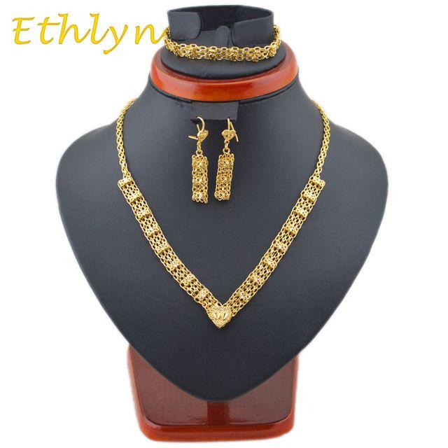 Etíope Ethlyn Encantador projeto colares & brinco & pulseiras define 18 k banhado a ouro jóias conjuntos de Três peças de casamento