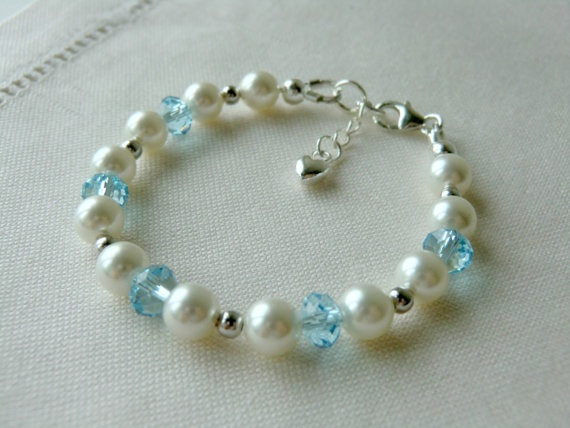 Blue Baby Bracelet for Baptism Christening by CharlotteJewelryBox,