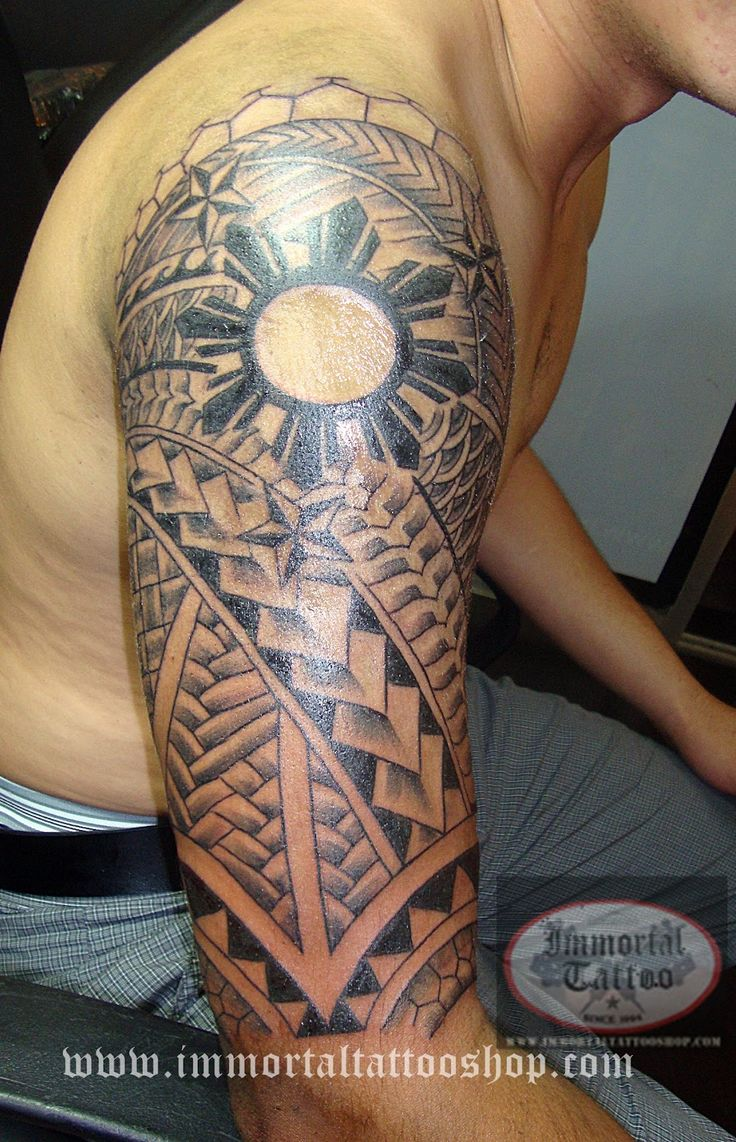 Polynesian tattoo on arm and chest - Tattoo Manila Philippines By Frank Ibanez Jr Filipino Tribal Tattoo