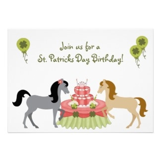 Horse St Patrick's Day Birthday Party Invitations for Girls