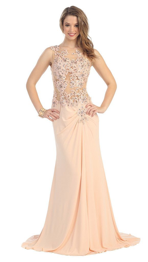 Long Formal Lace Applique Mother of the Bride Prom Dress