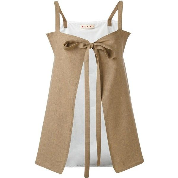 Marni tie front cami top (£620) ❤ liked on Polyvore featuring tops, beige, cami tank, print tank, brown cami, beige top and tie front top