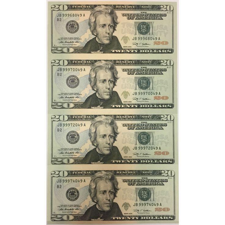 Uncut Currency Sheet 4 x 20 2009 UNC Bullion coins