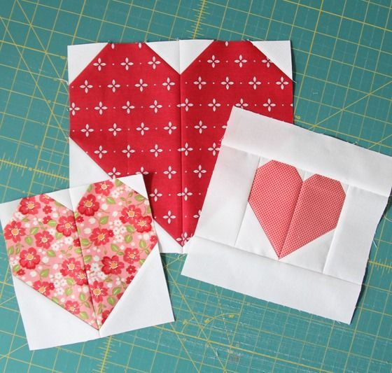 I heard you!  Or read your emails at least…so here's some info on making those heart blocks in multiple sizes.  The full heart quilt tutorial is here. To make each heart block (just the center he…
