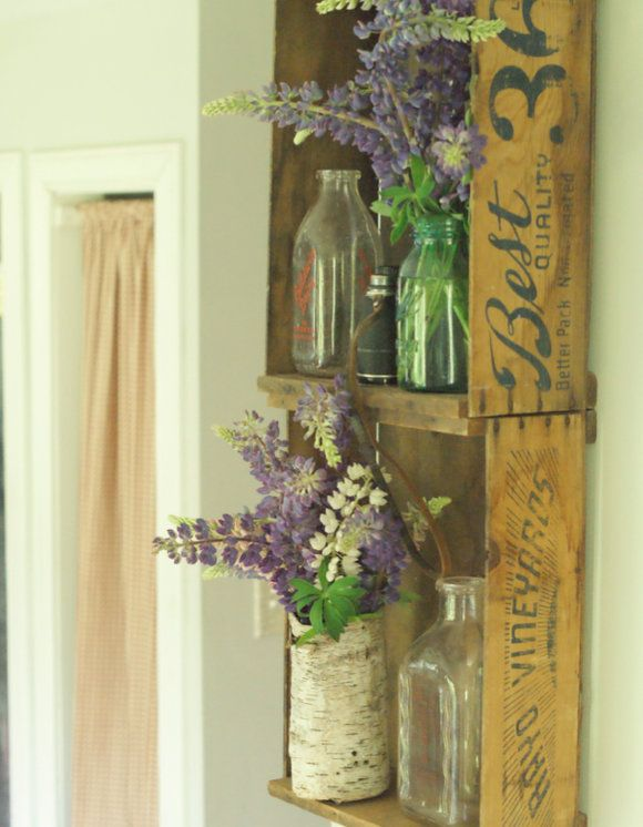 Post Road Vintage — Crate shelves, bottles and flowers