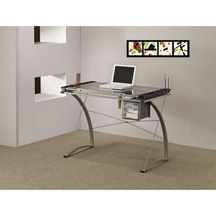 Lyke Home Clear/Silver Metal/Glass Computer Work Station Desk (Computer/Work Station Desk)