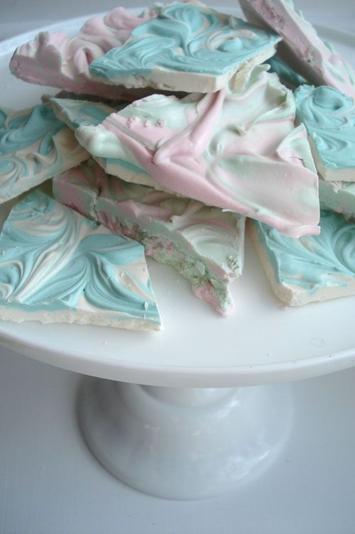 this chocolate bark is SO EASY and so pretty ..all you need is white choc chips, peppermint extract, and any color food coloring...so cute for a baby shower