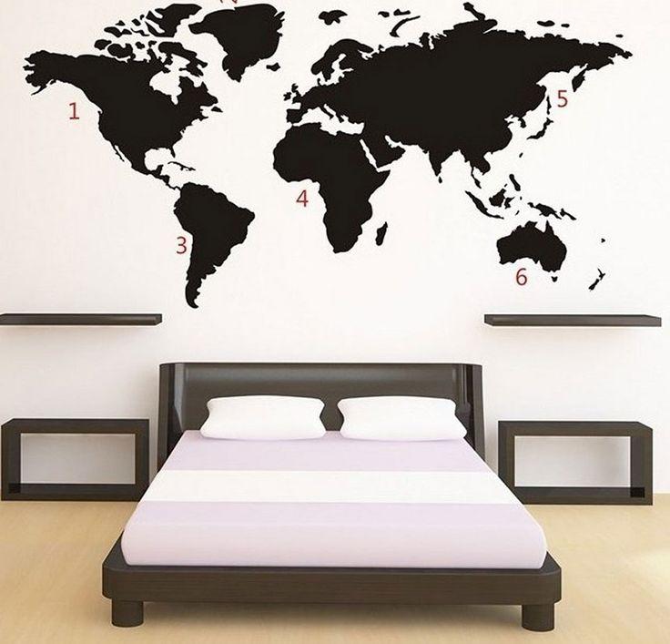 Gaaf: een wereldkaart als sticker op je muur.