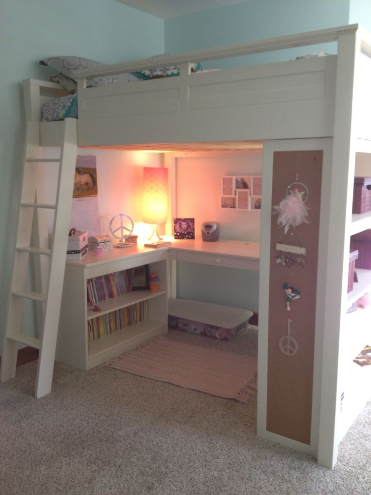 Girl 39 s loft bed great space saver girls rooms for Bunk bed bedroom designs