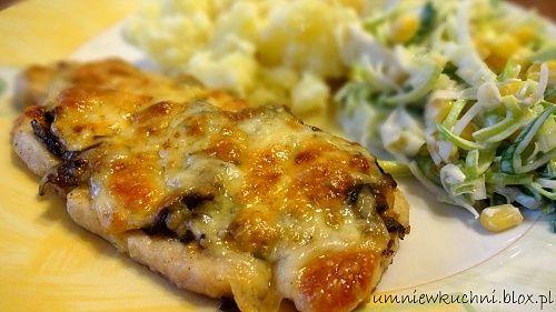 Filet zapiekany z pieczarkami i serem