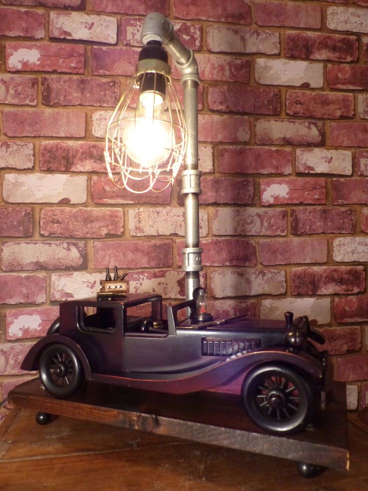 ROADSTER LAMP -  Steampunk Pipe lamp - PROHIBITION Lamp- Vintage Roadster Lamp by JusFunkinAround on Etsy