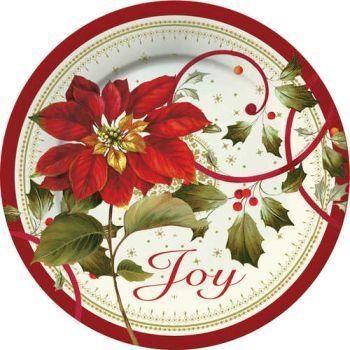 Joyful Poinsettia 11-inch Christmas Paper Plates 8 Per Pa...