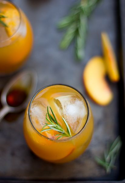 Rosemary Peach Maple Leaf Cocktail   @andwhatelse