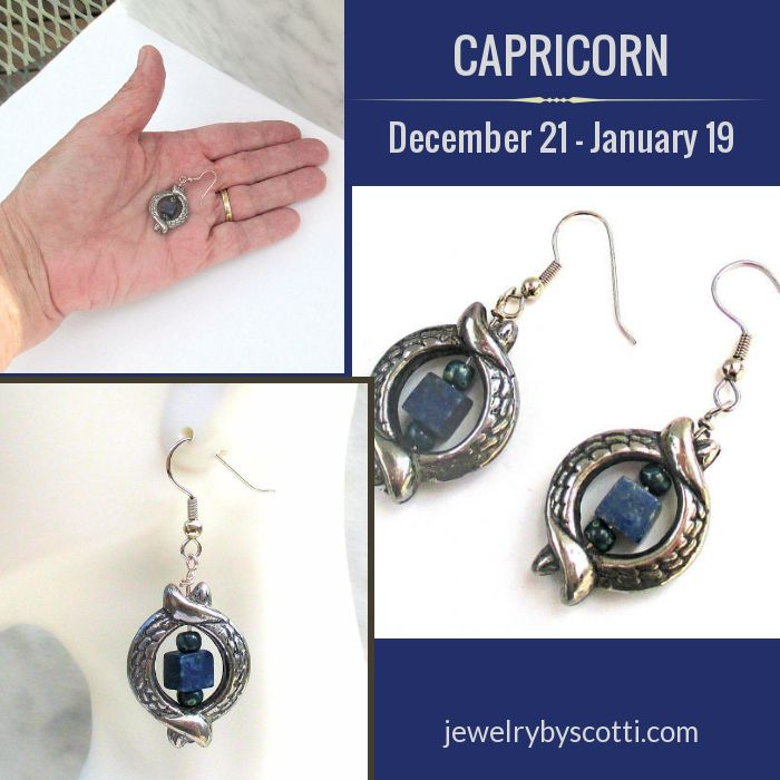 Shop now: https://www.etsy.com/listing/515010662/ --  According to the book Gemstones of the World by Walter Schumann, dark blue is one of the colors of the zodiac sign Capricorn. In addition, lapis lazuli is listed as the Planetary stone for Capricorn, which is ruled by Saturn. #handmadejewelry #capricorn #lapislazuli #darkbluejewelry #capricornbirthday SHOP URL: https://www.etsy.com/shop/JewelryByScotti