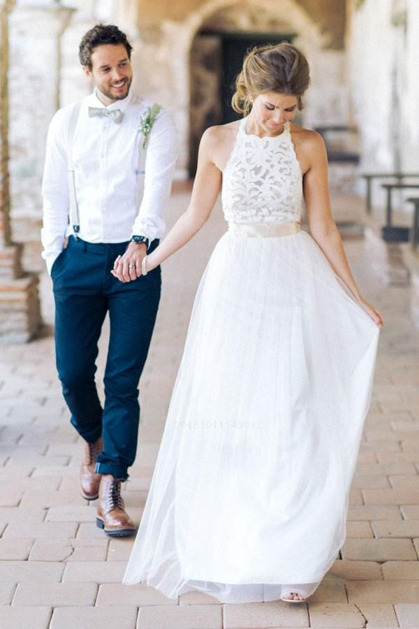 Cute Wedding Dress White Lace Simple