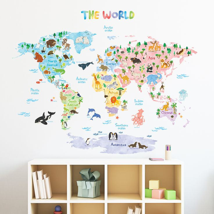 Animal World Map Wall Sticker <you can also buy this product in Amazon>   https://www.amazon.com/Decowall-DLT-1615-Animal-Nursery-Stickers/dp/B01N5QZFYH/ref=sr_1_1?ie=UTF8&qid=1494857001&sr=8-1&keywords=decowall+1615