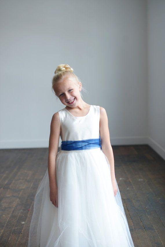 The Royal Blue organza flower girl dress first communion