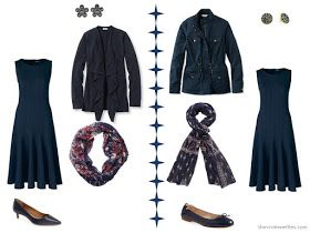 Two ways to wear a navy dress with matching navy accessories
