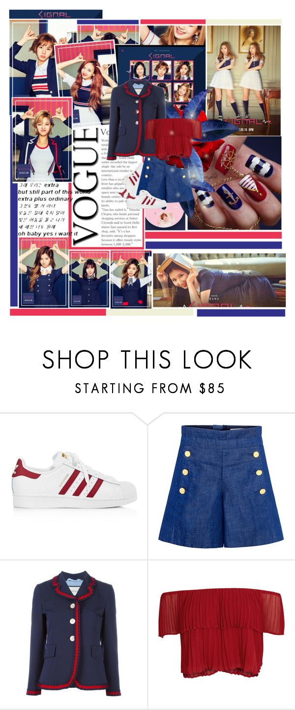 """""""TWICE- Signal"""" by bangles77 ❤ liked on Polyvore featuring adidas, CO, Gucci and Keepsake the Label"""