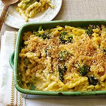 Image of baked macaroni and cheese with broccoli