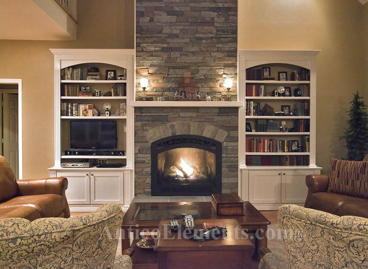 Stone fireplace pictures built ins fireplace built ins for Faux stone fireplace remodel