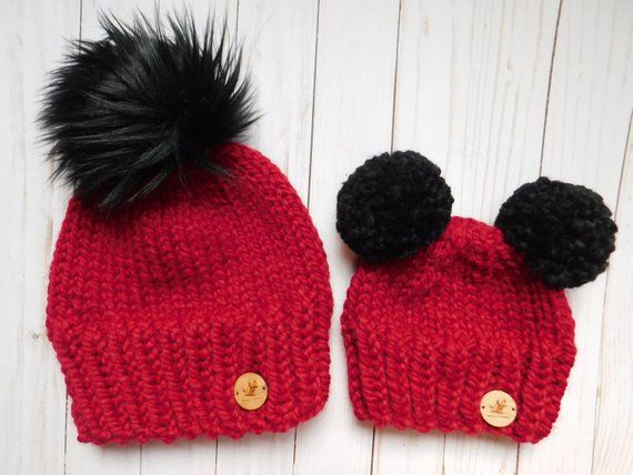 matching Mommy and Me hats. Hats double pom pom. mom and son hats. Mom and  Daughter matching hats. RTS. hat faux fur pom pom. 50e641f0086