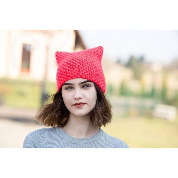 Orange NEON Cat Hat, Cat Hat, Knit Hat, Knit Pussy Hat, NEON Hat,... ($25) ❤ liked on Polyvore featuring accessories, hats, neon orange hat, knit hat, orange hat, cat hat and cat knit hat