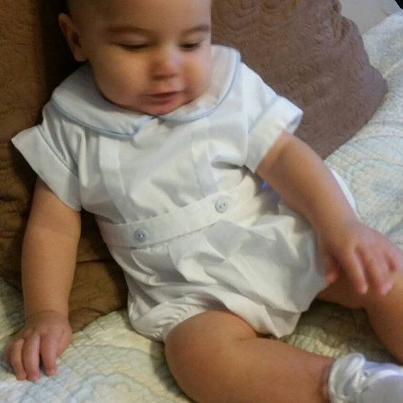When you need something to fit a very small baby, there is nothing like our preemie clothes. Preemie boy onesie is white with blue piping or blue with blue piping.  Should fit from 4 to 7 lb. baby.  If you need measurements, please send me an email.