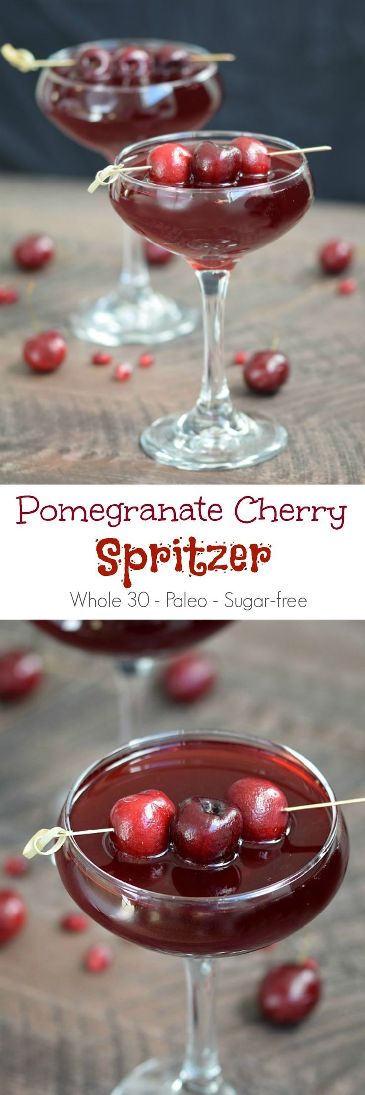 This Pomegranate Cherry Spritzer is the perfect way to celebrate with friends without feeling guilty or blowing your diet | cookingwithcurls.com