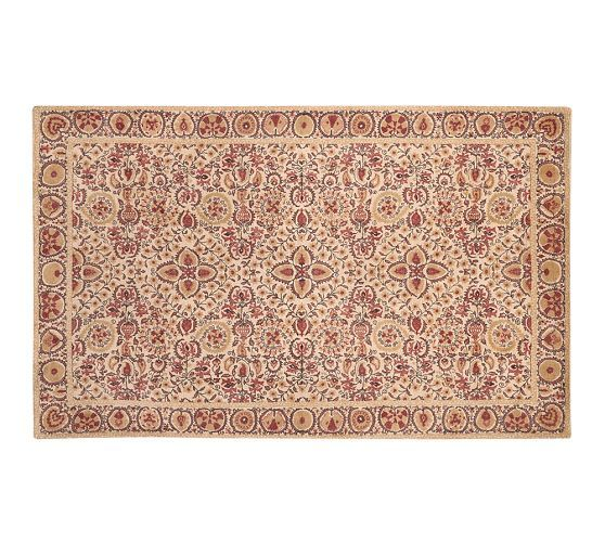 Helios Printed Rug Terracotta Red Pottery Barn