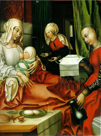 """""""Portraits of the Virgin Mary, shown here as an infant, dominated medieval art.""""    Hans Fries, Birth of Mary. Oil on Panel, German 1512. Kunstmuseum, Basel. Photo: Hans Hinz/Artothek"""