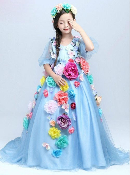 badfa8987eed Ball Gown Blue Tulle Flower Long Sleeve Flower Girl Dress ...
