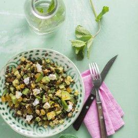 Boodschappen - Linzensalade met avocado en muntdressing