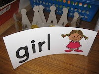 Each time I introduce a new word to the class, we put the word on the word wall and one lucky student gets to wear a crown that has the same word/picture on it.  I attach the word to the crown via velcro for easy storage.