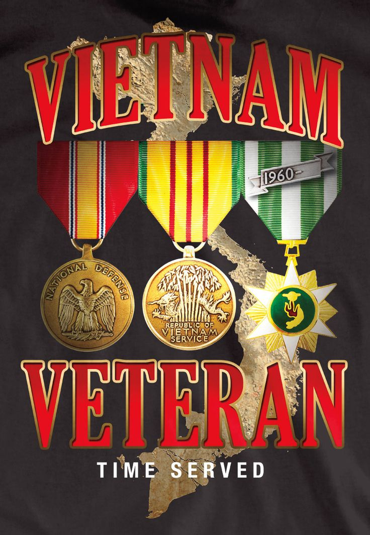 Vietnam Veteran Medals T-Shirt | Exclusively from Medals of America. Designed and printed in South Carolina for all of our Vietnam Veterans.