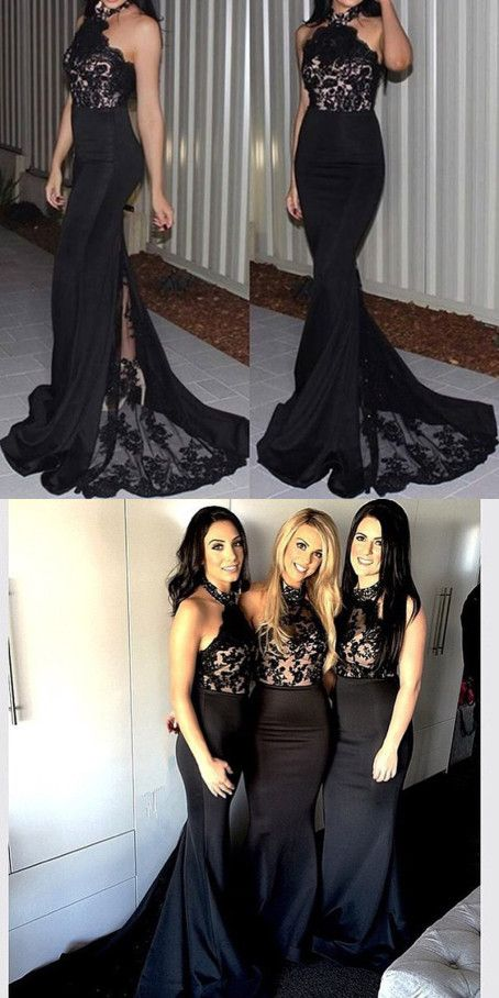 2016 bridesmaid dress, long bridesmaid dress, black bridesmaid dress, mermaid bridesmaid dress, wedding party dress, evening dress 2016, prom dress 2016  #bridesmaid #prom #evening