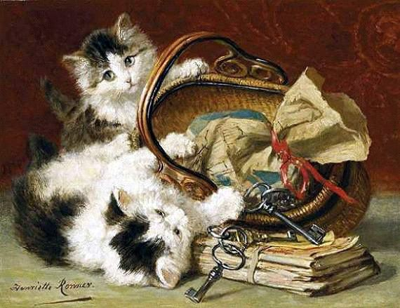 Kittens Playing with a Picnic Basket Henriette Ronner-Knip - cats in art