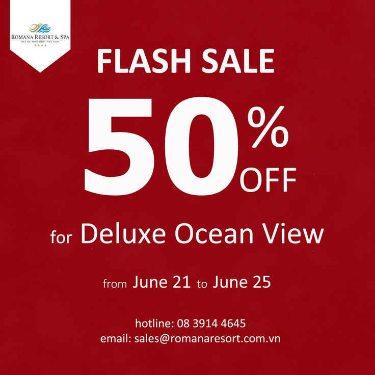 #FLASHSALE Ưu đãi lớn từ #Romana Giảm 50% cho phòng Duluxe Ocean View, giá chỉ còn 1,088,500vnd Nhanh tay đạt phòng thôi mọi người ơi! Big #promotion from Romana 50% off for Deluxe Ocean View, the rate is only 1,088,500vnd Don't miss it!