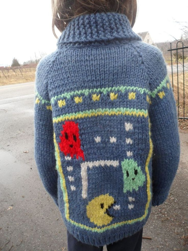 Vintage Pac-Man Video Game Boys Child Hand Knit Wool Sweater Original Pacman #Atari