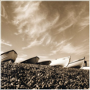 ACHICA | Black & White Picture Gallery - Boats, Pett Level, Hastings, 60 x 80cm