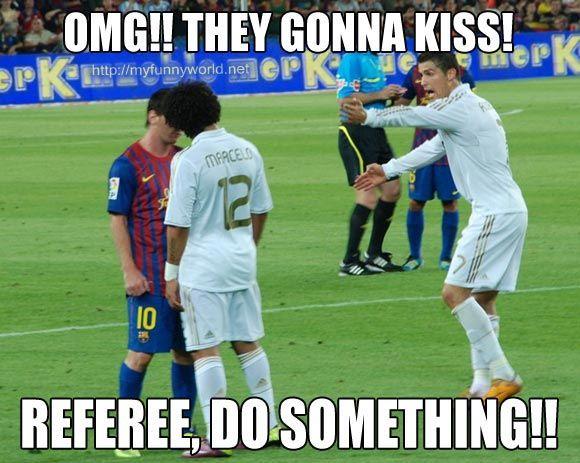 Ronaldo meme: OMG! They gonna kiss! Refferree do something!