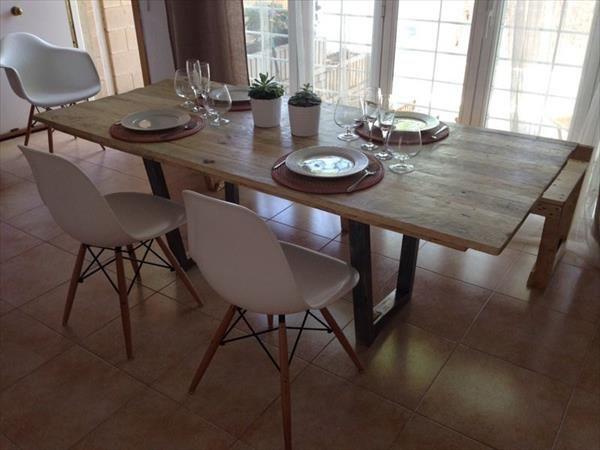 Built Pallet Industrial Dining Table | Pallet Furniture DIY
