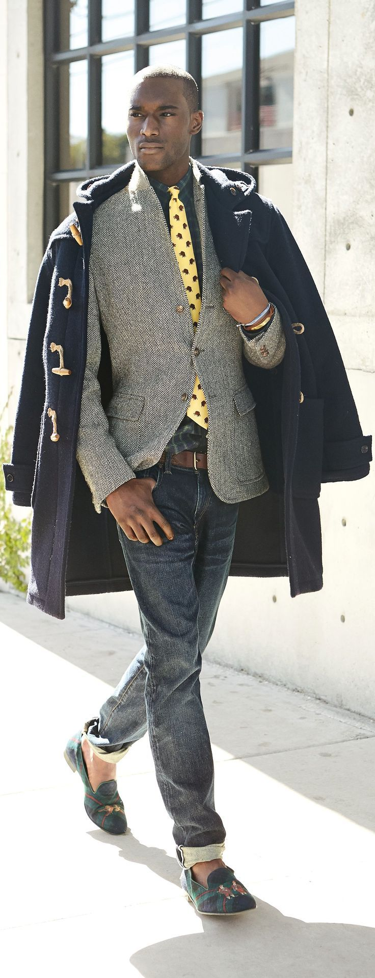 Men's Navy Duffle Coat, Grey Herringbone Wool Blazer, Navy and Green Plaid Long…