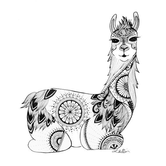 All Of My Illustrations Are Drawn Completely By Hand Using Archival Ink This Zentangle Style Llama Print Woul Llama Print Alpaca Drawing Animal Coloring Pages