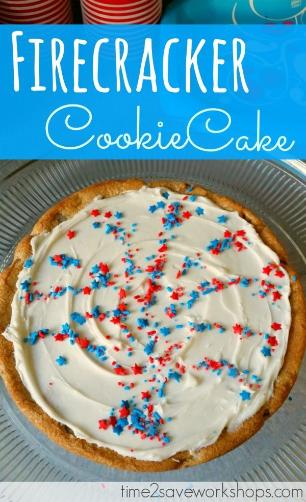 Patriotic FireCracker Cookie Cake recipe.  This 4th of July Cookie Cake was super easy to make and the family loved it!
