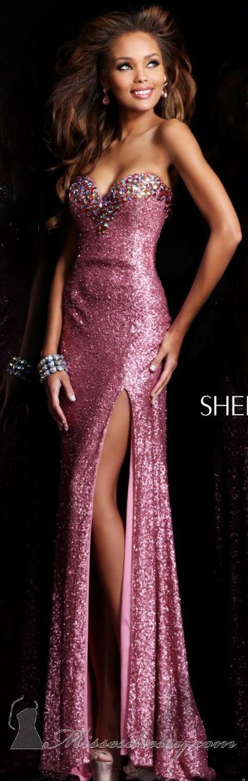 Sherri Hill Sequined Gown  #Pink #Strapless