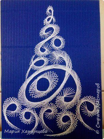 Поделка изделие Новый год Изонить Скоро Новый Год  Картон Нитки фото 1