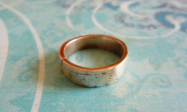 Mens Wedding Ring, Mens Silver Wedding Band, Rustic Simple,Crinkle Texture Fine Silver. $120.00, via Etsy.