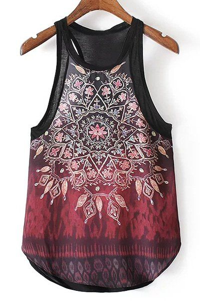 $11.66 Casual Kaleidoscope Print Irregular Racerback Tank Top For Women